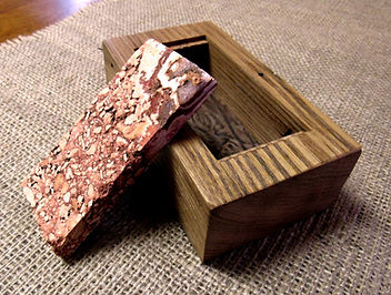 Reclaimed Wormy Chestnut Trinket Box with Stone Tile Lid
