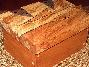 Cherry Keepsake Box with Spalted Maple Lid and Leather Hinges