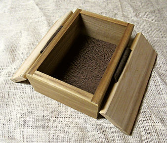 Poplar Box with Leather Hinges and Brass Nails