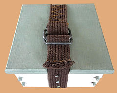 Chalk-Painted Keepsake Box with Salvaged Belt Hinge and Clasp