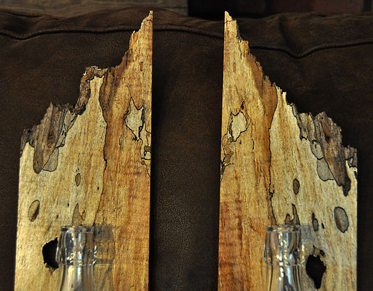 Bookmatched Spalted Maple Wall Sconces