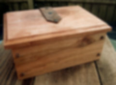 Cherry Keepsake Box with Leather Hinges