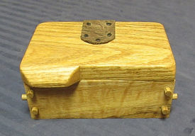 Curly Oak Keepsake Box with Leather Hinges