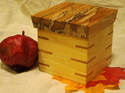 Small Poplar Box with Spalted Maple Lid