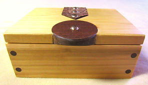 Poplar Keepsake Box with Walnut Accents and Leather Hinges