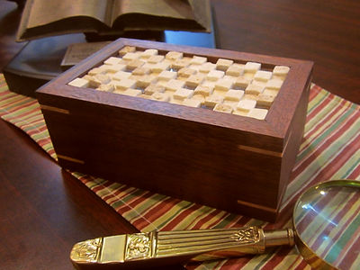 Curly Maple Lined Walnut Keepsake Box with Tile Mosaic Lid