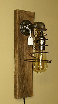 Barnwood and Bed Spring Hanging Lamp