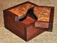 Walnut Box with Maple Burl Split Swivel Lid