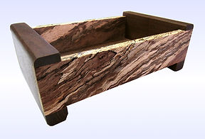 Spalted Oak Leather Lined Men's Valet with Black Walnut Legs