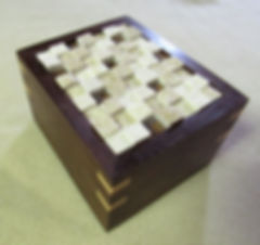 Walnut Box with Cherry Lining and Tile Mosaic Lid