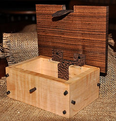 Curly Maple Keepsake Box with Walnut Lid and Leather Hinges and Clasp