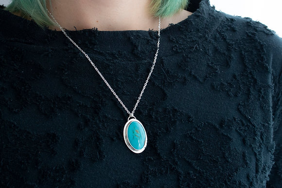 """""""Calm"""" Oval Turquoise Necklace"""