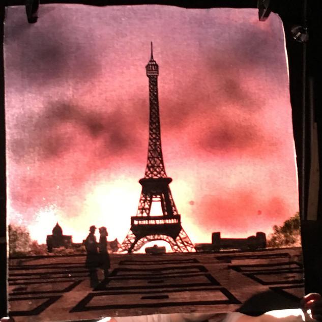 Paris lit from behind