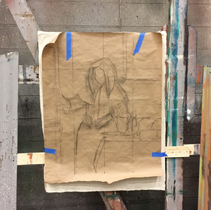 """Drawing for """"Young Woman with the Water Pitcher"""" Vermeer study"""