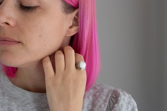 White Buffalo Ring, Size 7.75