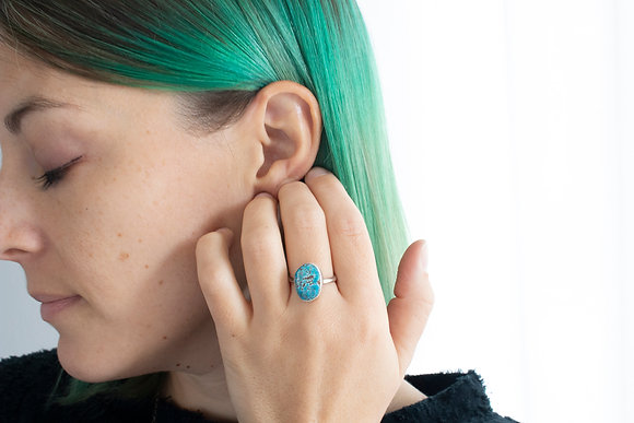 Oval Turquoise Ring, Size 7.25