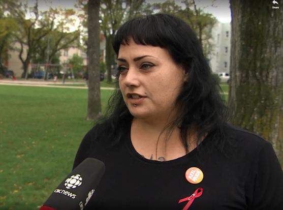 LHIV Community Scholar, Christine Bibeau, interviewed at Red Ribbon Walk in Winnipeg, MB
