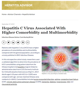 Dr. Claire Kendall Cited as an Expert for Hepatitis C and Comorbidity