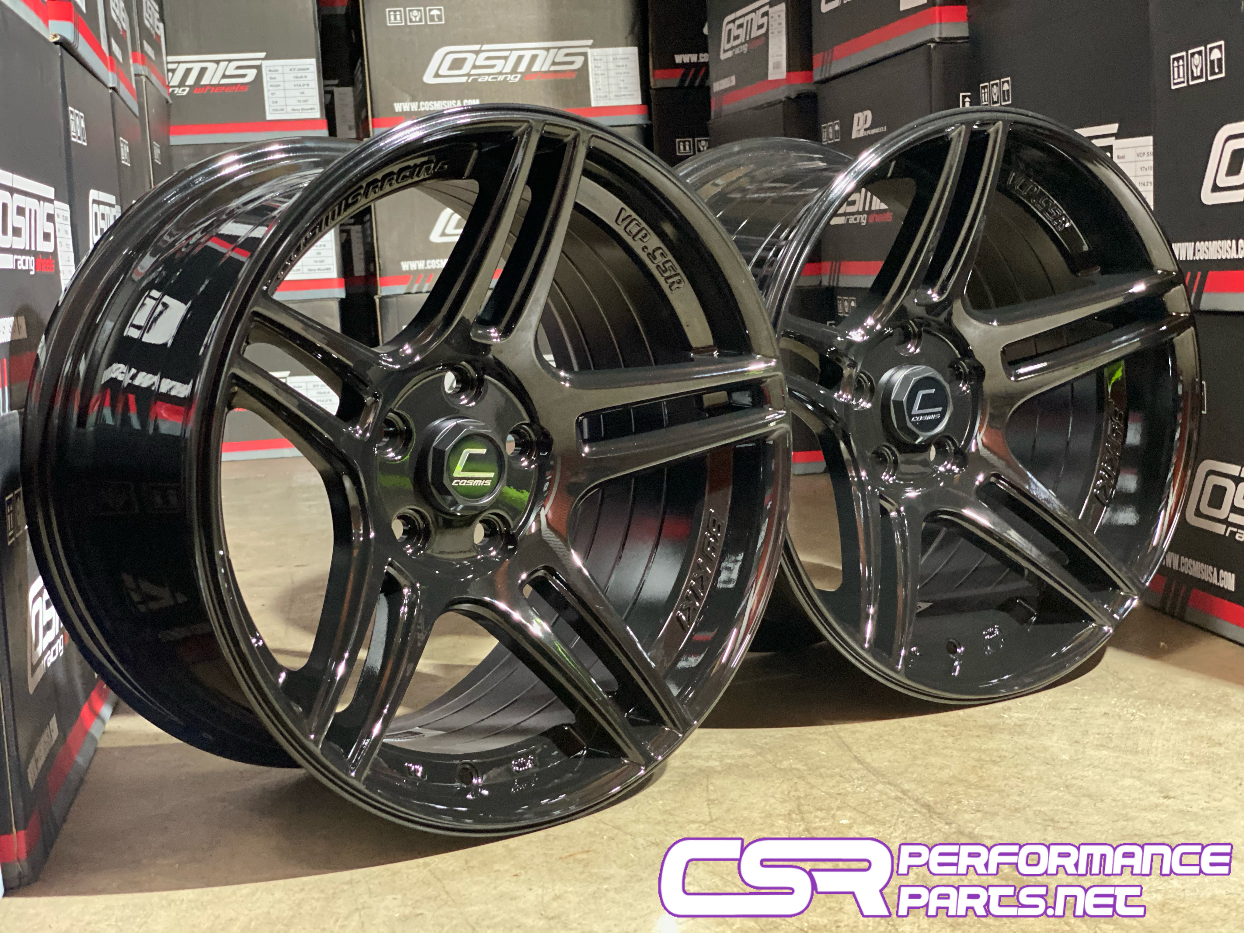 "Cosmis VCP-S5R Gloss Black Staggered 17"" Set"