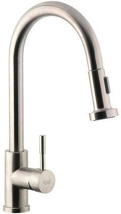 Смеситель для кухни на гайке с выдвижной лейкой AquaKratos АК66803 нерж.