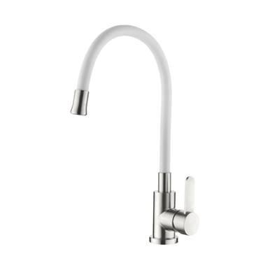 Смеситель для кухни белый с гибким силиконовым изливом AquaKratos АК77105-8