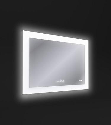 Зеркало LED 060 pro 80*60, с подсветкой, антизапотевание, часы