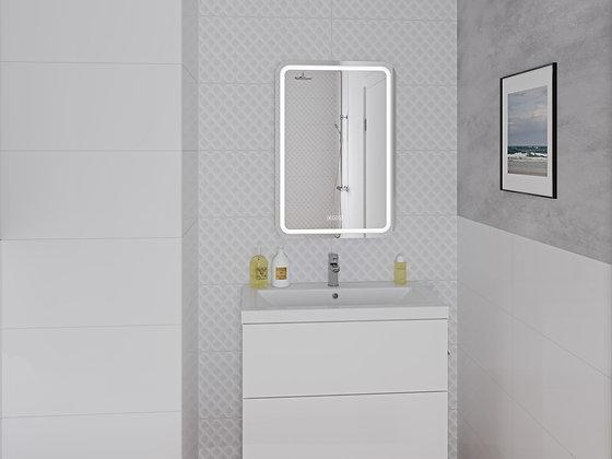 Зеркало LED 050 pro 55*80, с подсветкой, антизапотевание, смена цвета, часы