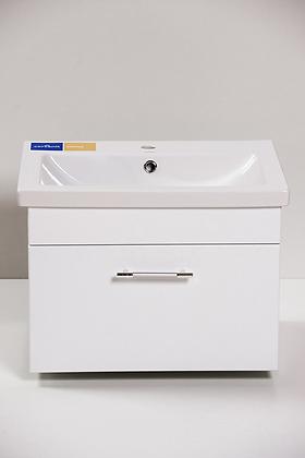Тумба с раковиной КОМО-600 подвесная 1 ящик белая