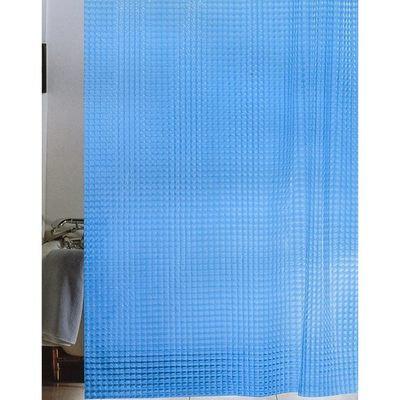 """Штора д/ван """"ZALEL 3D с кольцами 180х180 синий"""