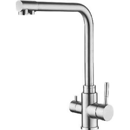 Смеситель для кухни на гайке с каналом для питьевой воды AquaKratos АК88003 нерж