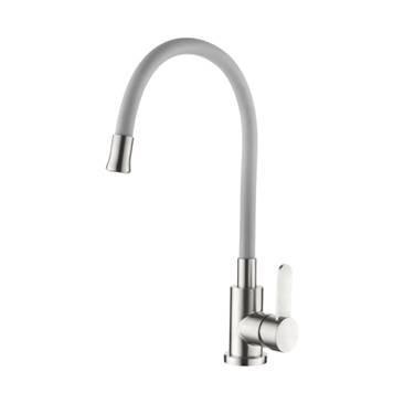 Смеситель для кухни серый с гибким силиконовым изливом AquaKratos АК77105-22