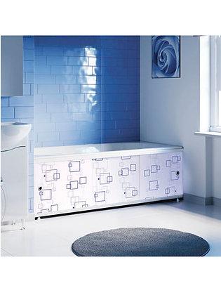 "Экран под ванну ""Оптима DECOR"" 1,5 м пластик (048Н геометрия квадраты голубые)"