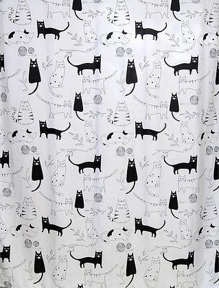 Штора для ванн BATH Little Black Cat бело-черный 180х180 (ch-12256 (103)