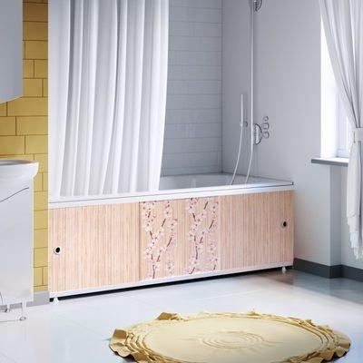 """Экран под ванну """"Оптима DECOR"""" 1,7 м пластик (038 Н Сакура)"""
