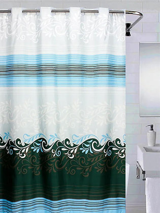 Штора для ванн BATH большие кольца Waves голубой 180*200 NFD-1158-1