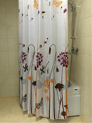 Штора для ванн BATH (FLOWERS SHRUBS беж/оранж.) 180х180 (ch13293)