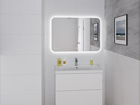 Зеркало LED 070 pro 80*60, с подсветкой, сенсор, антизапотевание, часы