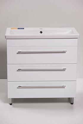 Тумба с раковиной КОМО-800 3 ящика белая
