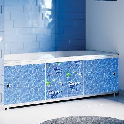 """Экран под ванну """"Оптима DECOR"""" 1,5 м пластик (031Н Дельфины)"""