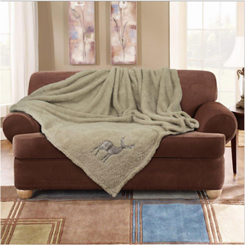 Stag Embroidered Super Soft Teddy Feel Throw Natural