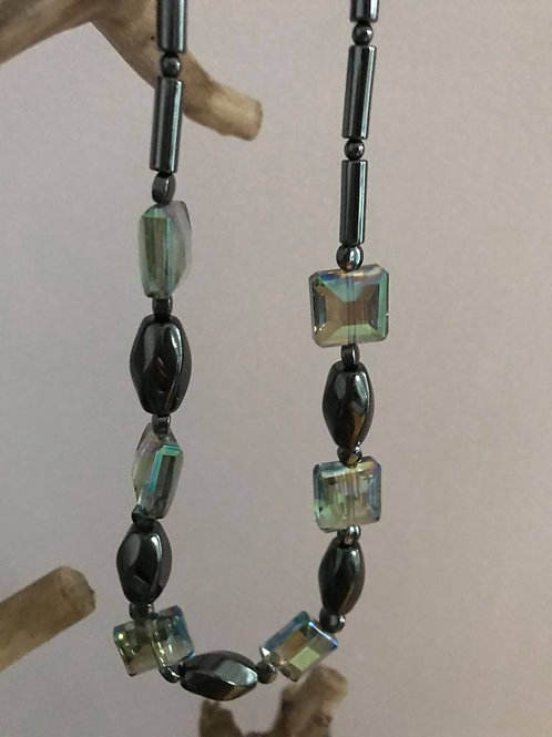 Hematite with glass cubes necklace