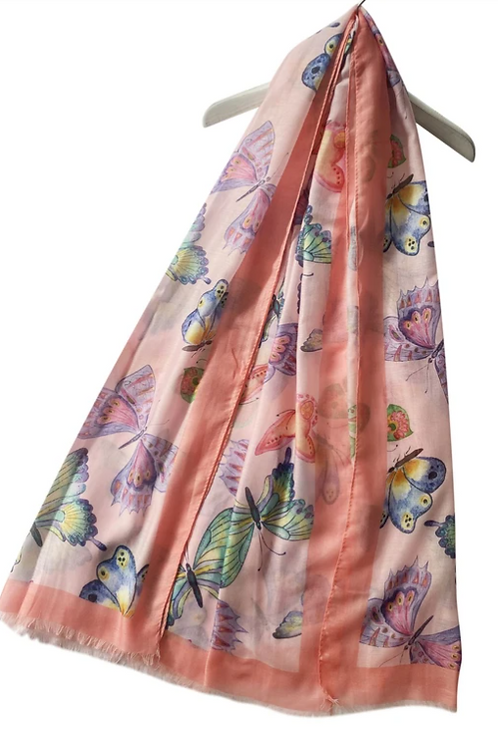 Painted Butterfly Print Frayed Scarf