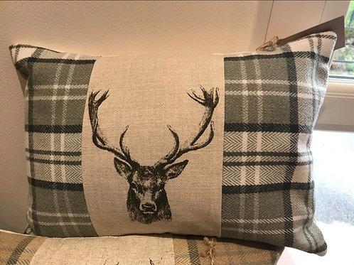 Tartan Stag Oblong Cushion