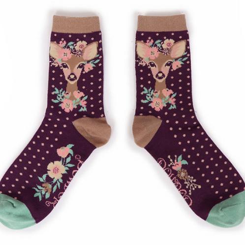 Floral Deer Ankle Socks