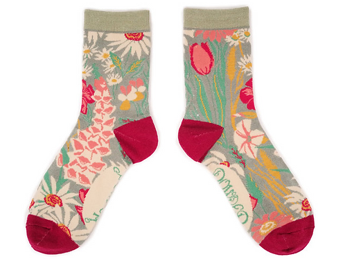 Powder Ladies Ankle Socks Country Garden - Mint