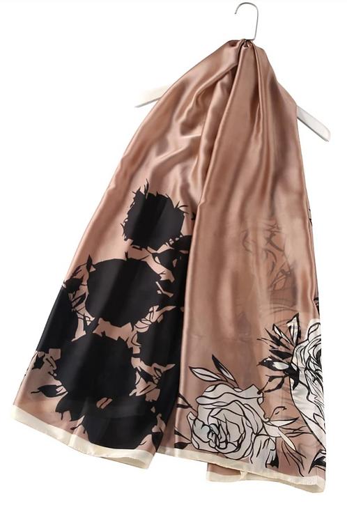Luscious Rose Print Silk Scarf