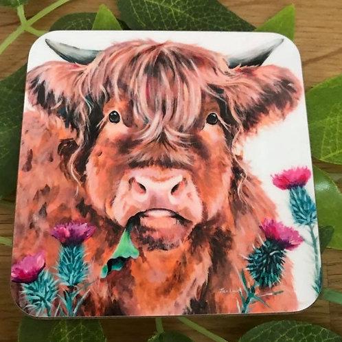 Jan Laird Highland Cow Coaster