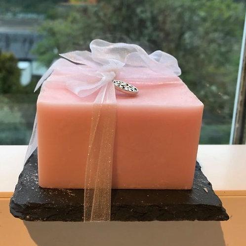 100% Eco Soy Wax Candle on Slate Tile