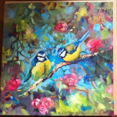 Bluebirds and Blossom Card