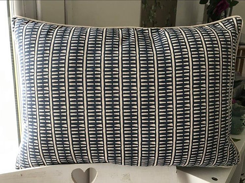 Indigo Cushion with Ecru Piping